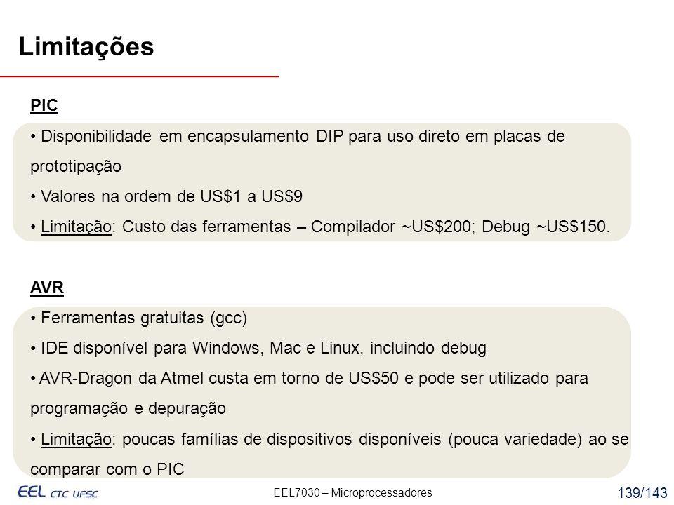 Limitações PIC. Disponibilidade em encapsulamento DIP para uso direto em placas de prototipação. Valores na ordem de US$1 a US$9.