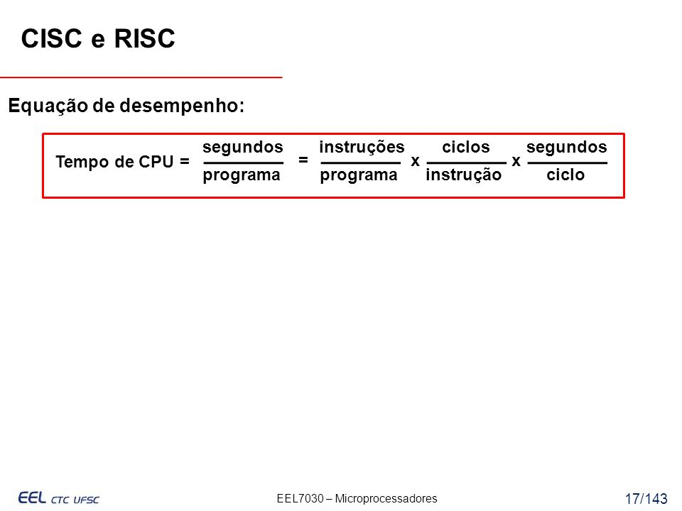CISC e RISC Equação de desempenho: segundos instruções ciclos segundos