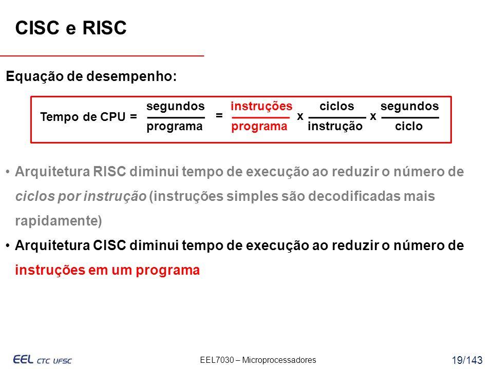 CISC e RISC Equação de desempenho: