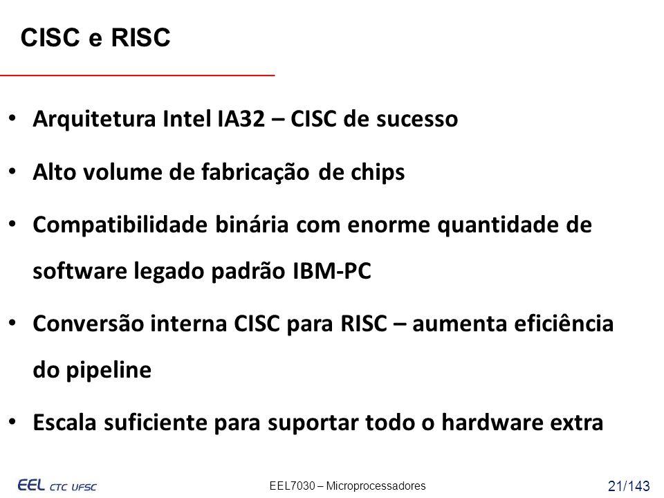 CISC e RISC Arquitetura Intel IA32 – CISC de sucesso. Alto volume de fabricação de chips.