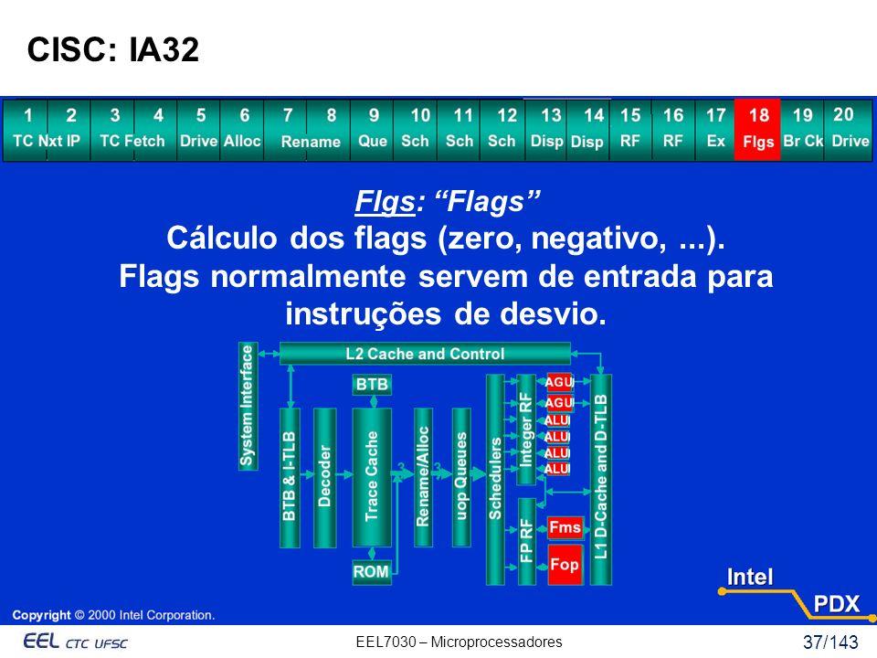 CISC: IA32 Cálculo dos flags (zero, negativo, ...).