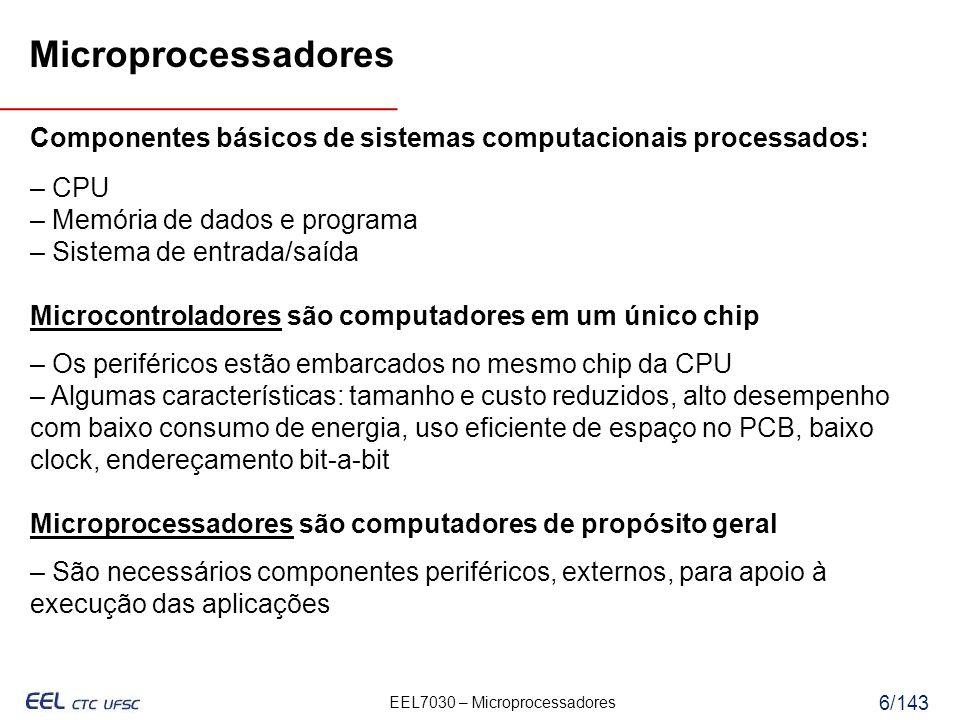 Microprocessadores Componentes básicos de sistemas computacionais processados: – CPU. – Memória de dados e programa.