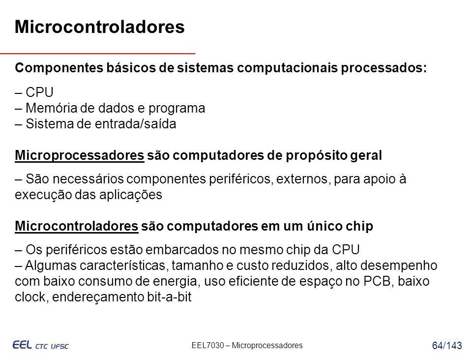 Microcontroladores Componentes básicos de sistemas computacionais processados: – CPU. – Memória de dados e programa.