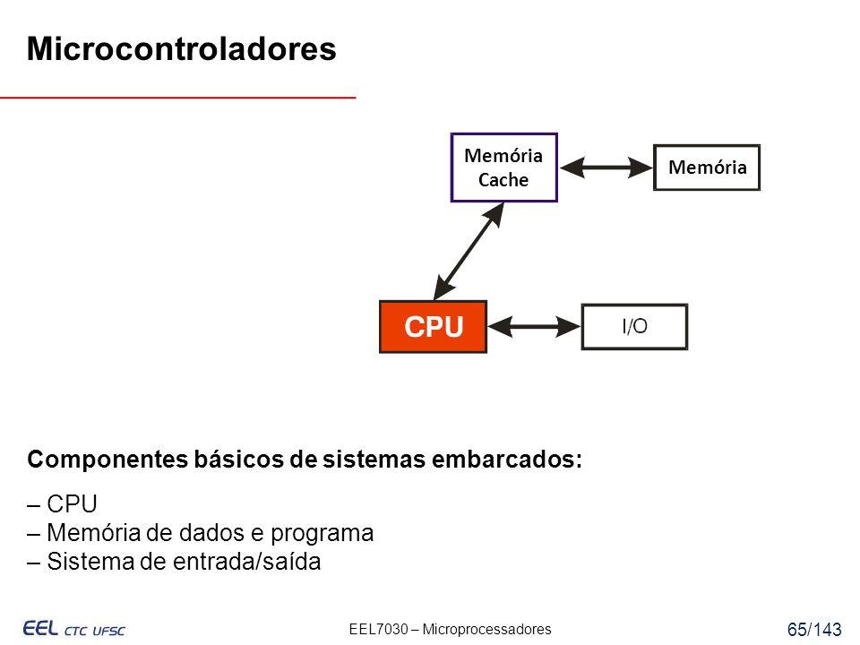 Microcontroladores Componentes básicos de sistemas embarcados: – CPU