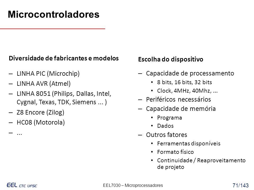 Microcontroladores Diversidade de fabricantes e modelos