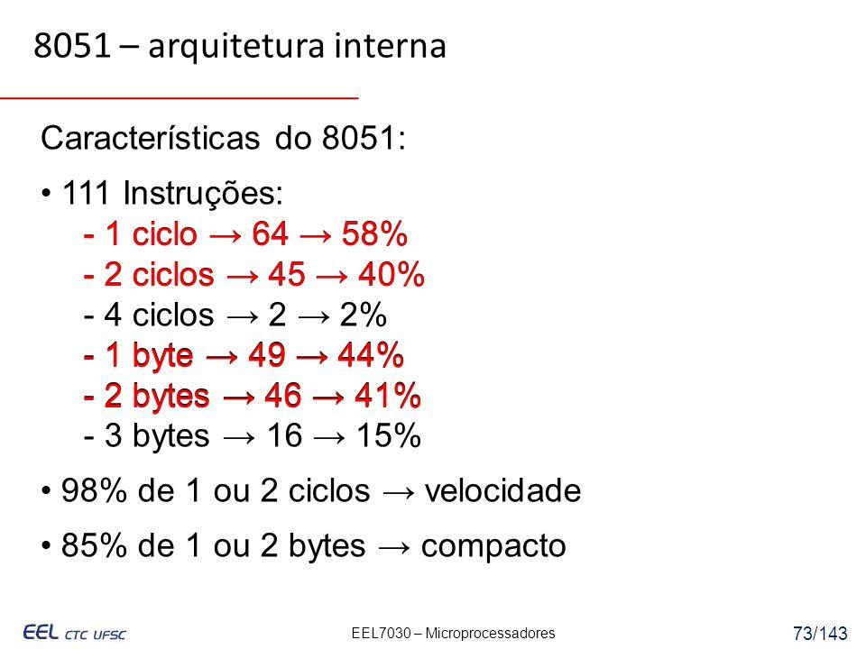 8051 – arquitetura interna Características do 8051: • 111 Instruções: