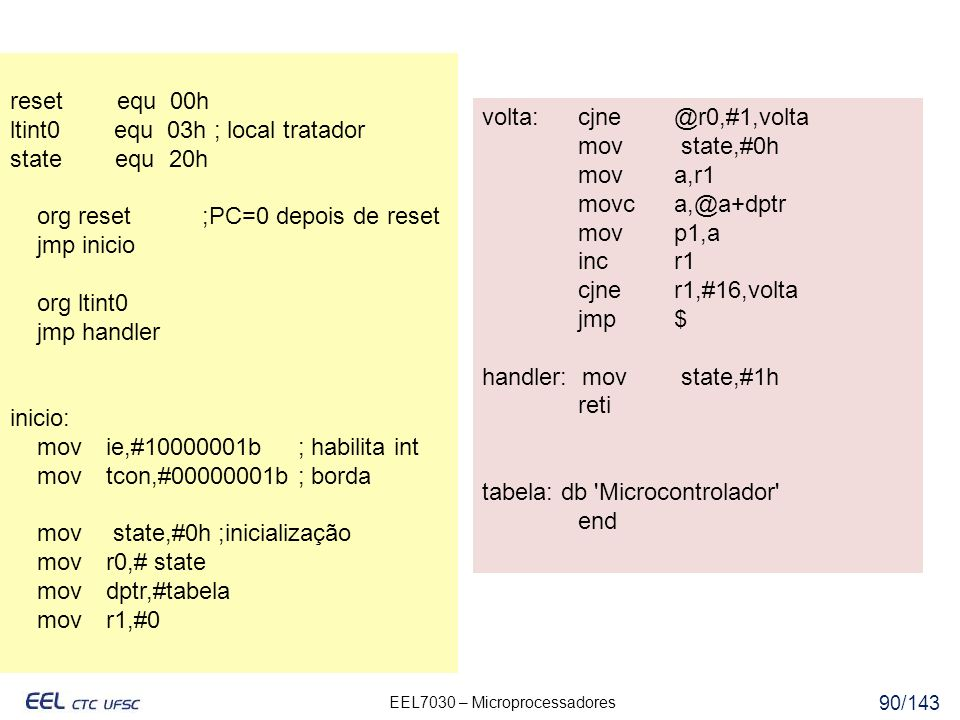 reset equ 00h ltint0 equ 03h ; local tratador. state equ 20h. org reset ;PC=0 depois de reset.