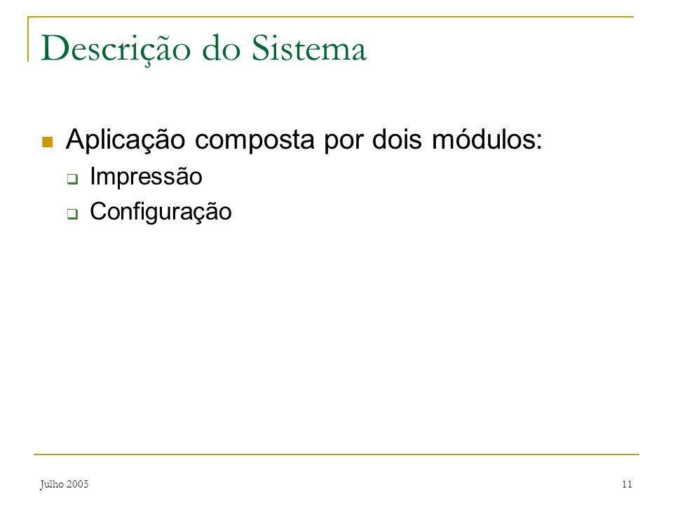 Descrição do Sistema Aplicação composta por dois módulos: Impressão
