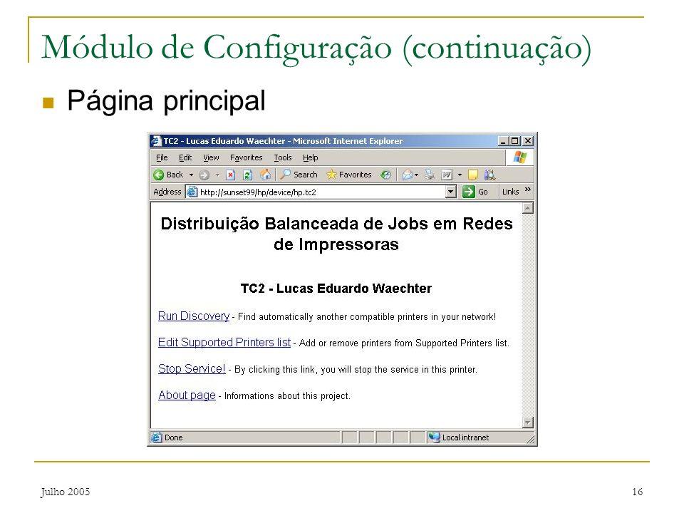 Módulo de Configuração (continuação)