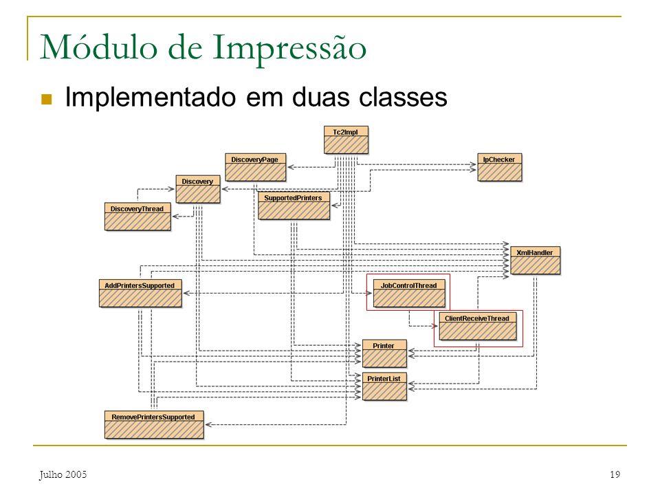 Módulo de Impressão Implementado em duas classes Julho 2005
