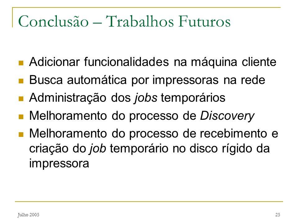 Conclusão – Trabalhos Futuros
