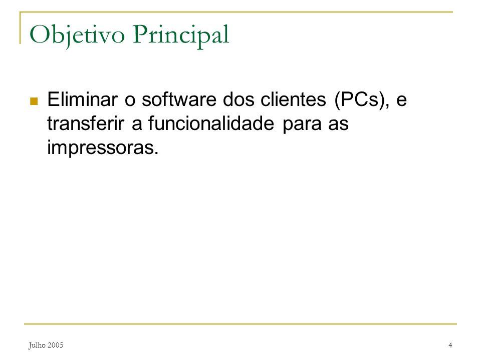 Objetivo Principal Eliminar o software dos clientes (PCs), e transferir a funcionalidade para as impressoras.