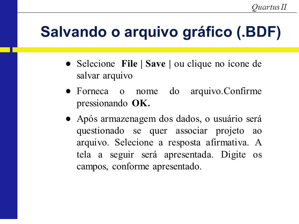 Salvando o arquivo gráfico (.BDF)