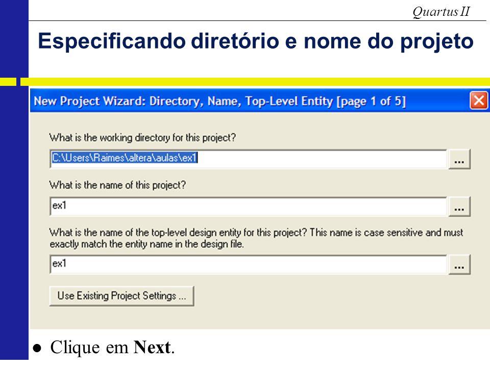 Especificando diretório e nome do projeto
