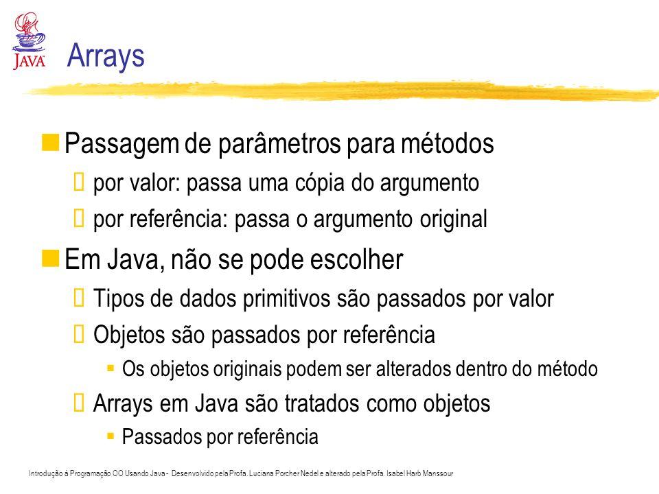 Arrays Passagem de parâmetros para métodos