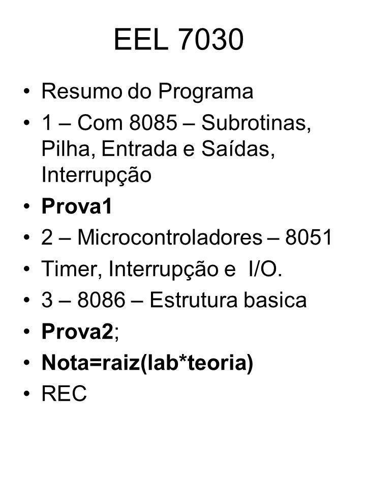 EEL 7030 Resumo do Programa. 1 – Com 8085 – Subrotinas, Pilha, Entrada e Saídas, Interrupção. Prova1.
