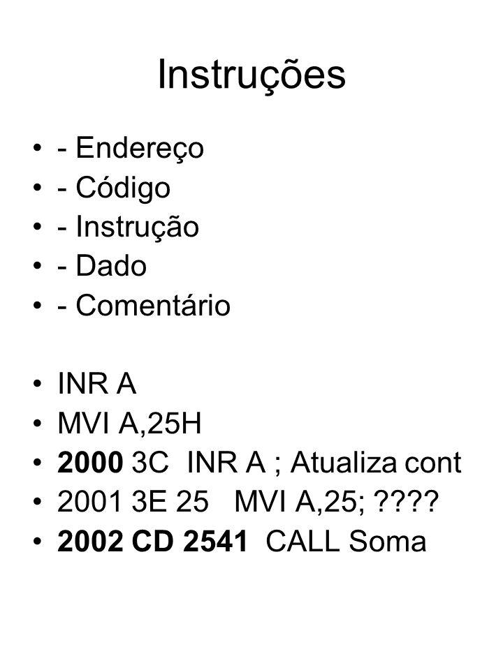 Instruções - Endereço - Código - Instrução - Dado - Comentário INR A