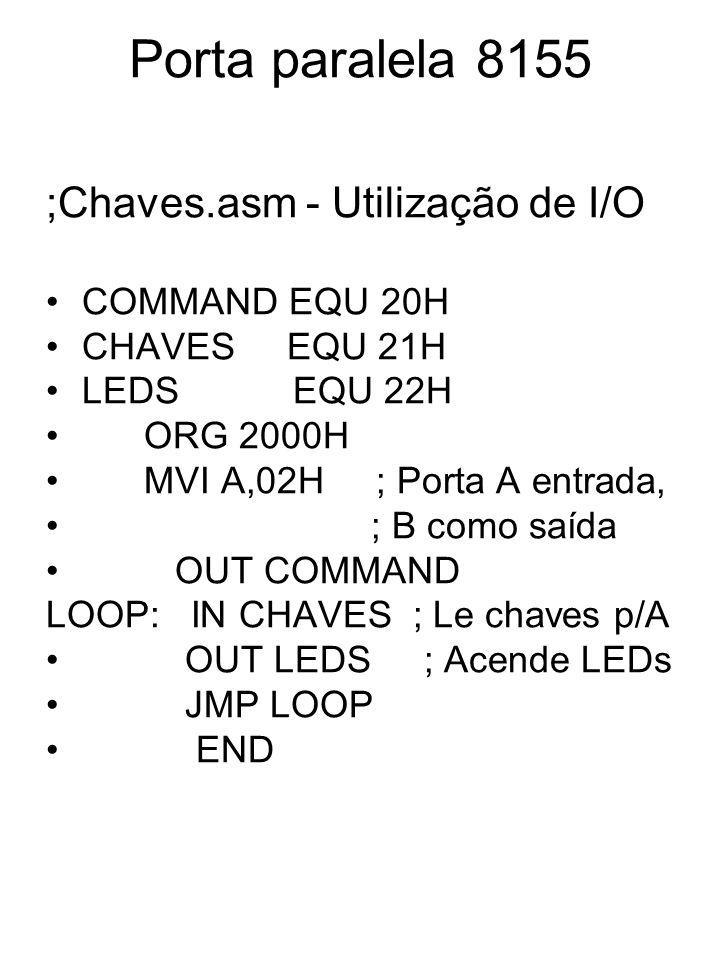 Porta paralela 8155 ;Chaves.asm - Utilização de I/O COMMAND EQU 20H