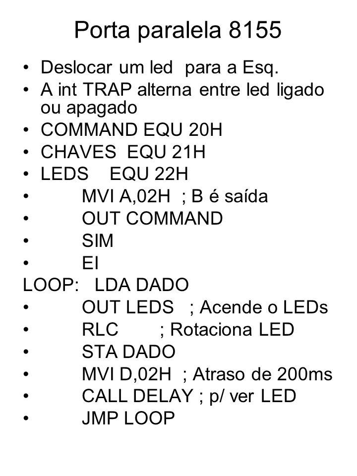 Porta paralela 8155 Deslocar um led para a Esq.