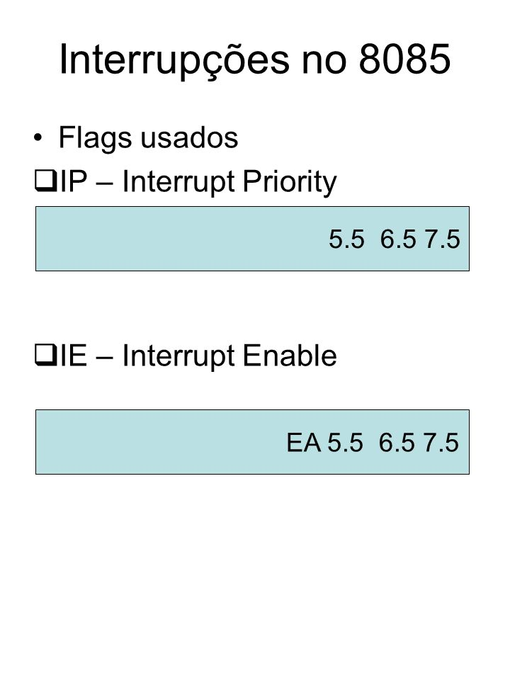Interrupções no 8085 Flags usados IP – Interrupt Priority