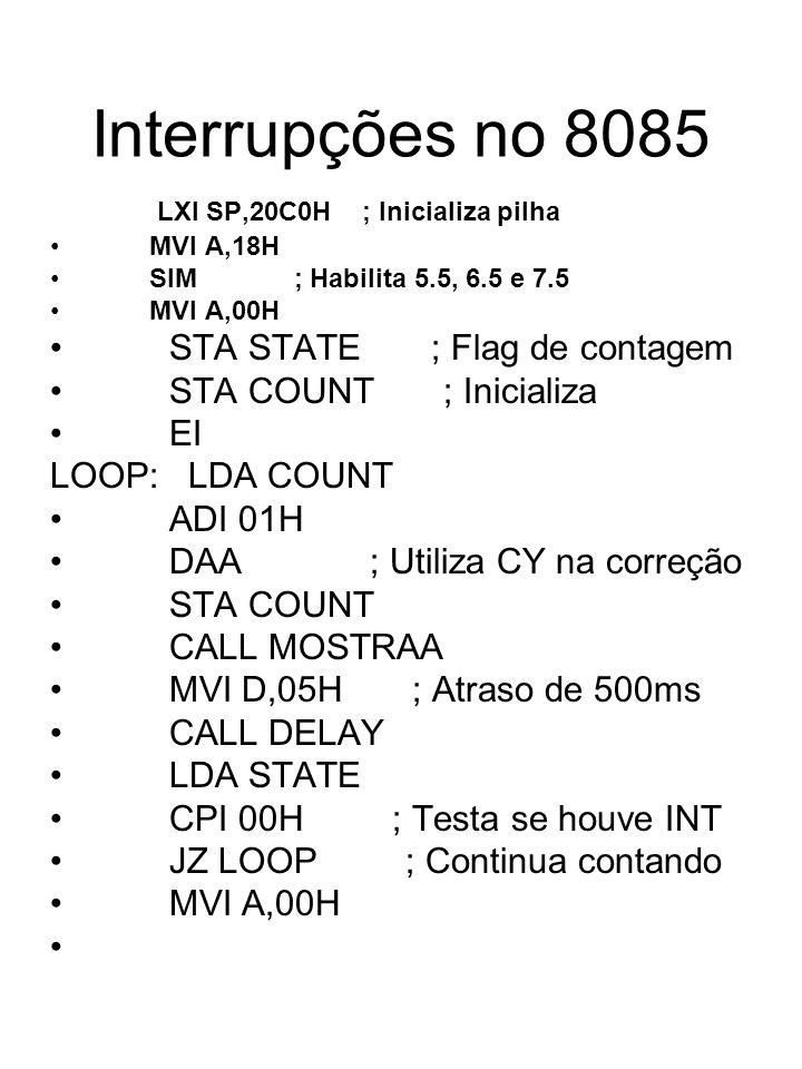 Interrupções no 8085 LXI SP,20C0H ; Inicializa pilha