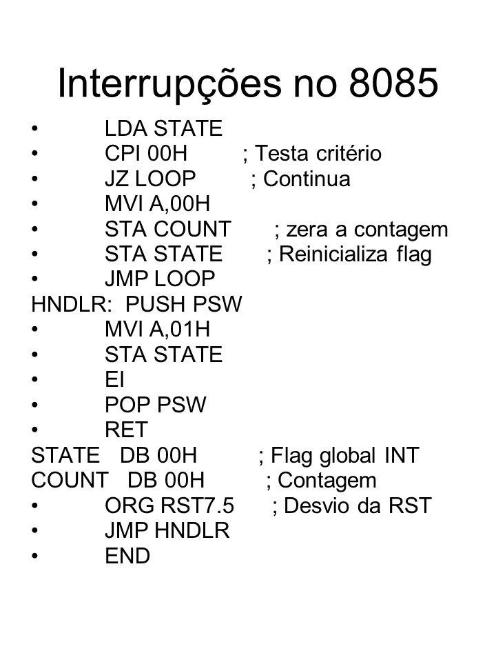Interrupções no 8085 LDA STATE CPI 00H ; Testa critério