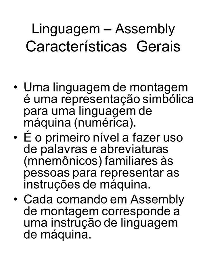 Linguagem – Assembly Características Gerais