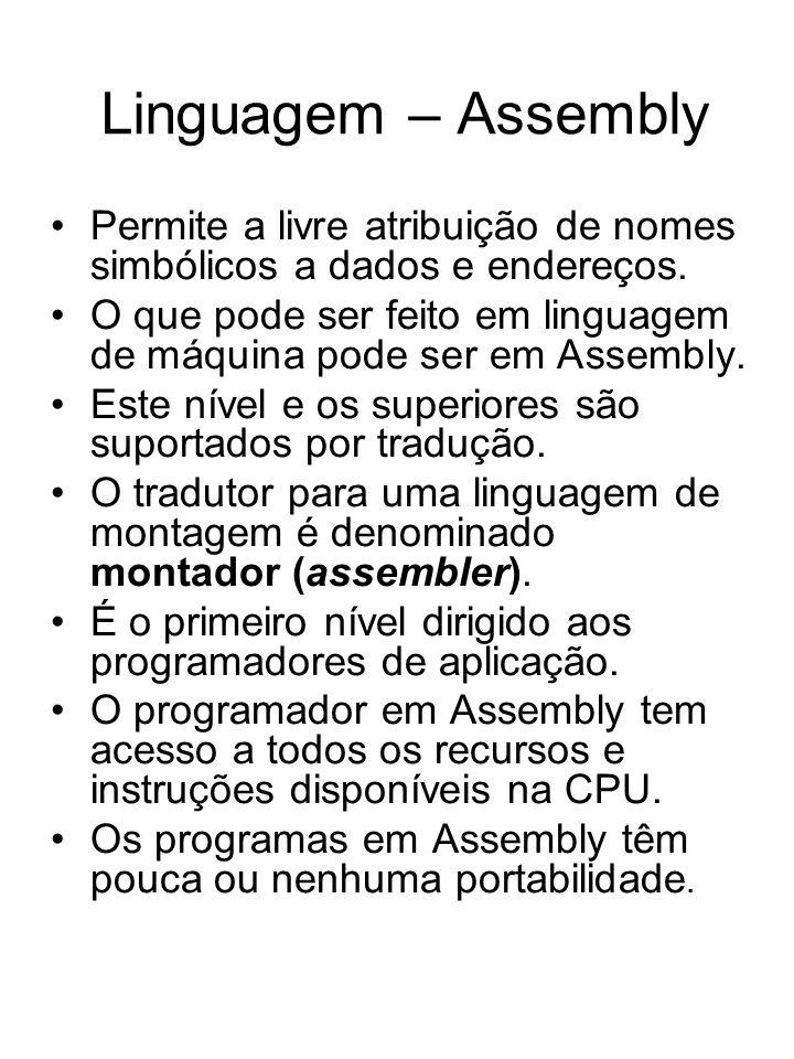 Linguagem – Assembly Permite a livre atribuição de nomes simbólicos a dados e endereços.