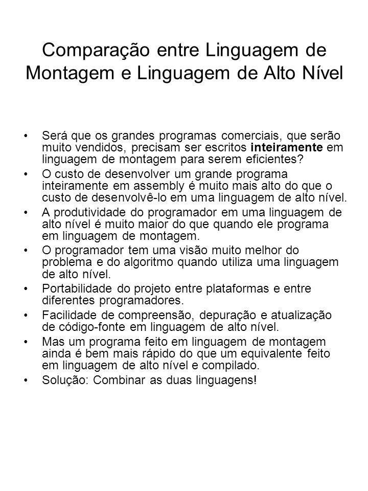 Comparação entre Linguagem de Montagem e Linguagem de Alto Nível