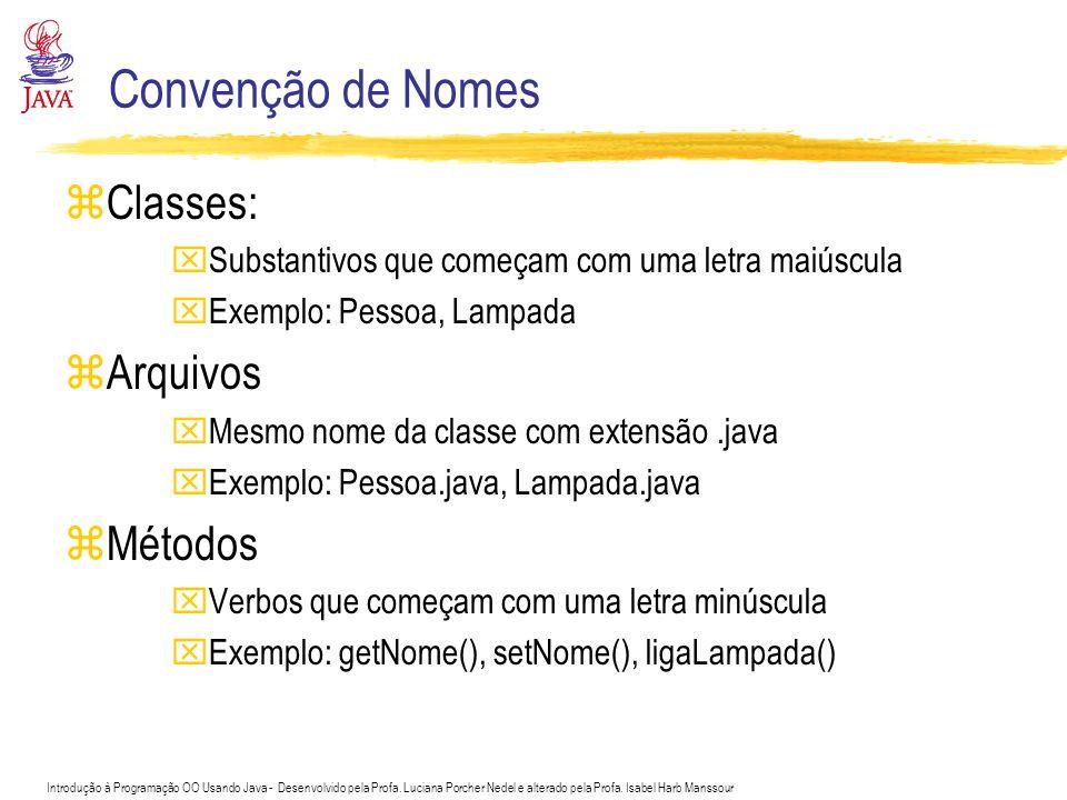 Convenção de Nomes Classes: Arquivos Métodos