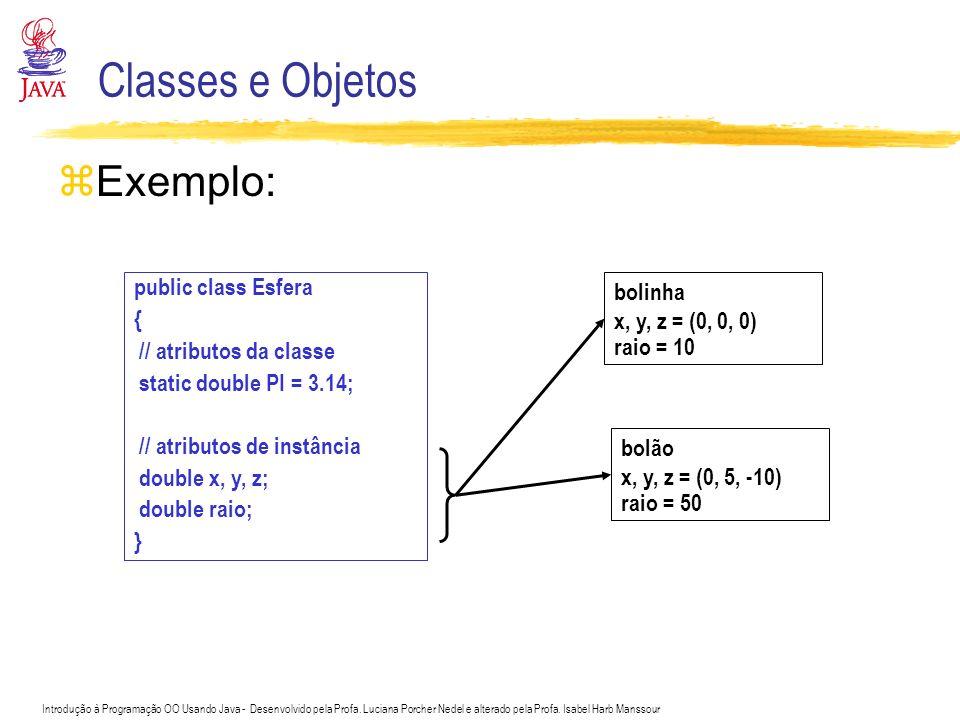 Classes e Objetos Exemplo: public class Esfera {