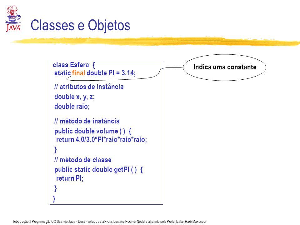 Classes e Objetos class Esfera { Indica uma constante