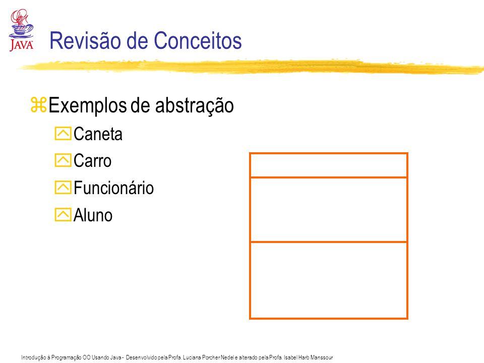 Revisão de Conceitos Exemplos de abstração Caneta Carro Funcionário