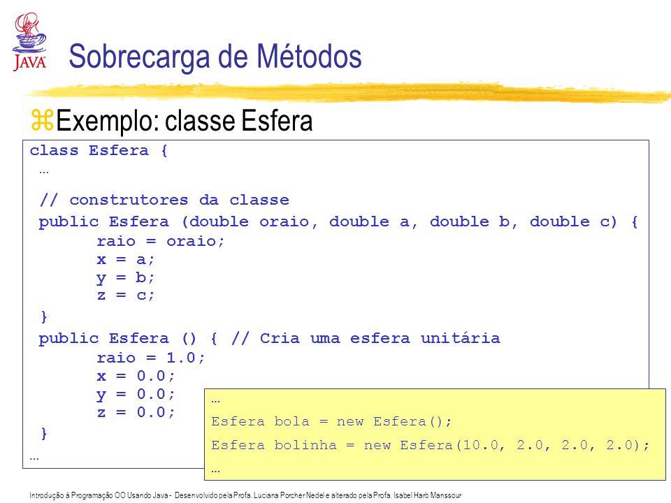 Sobrecarga de Métodos Exemplo: classe Esfera class Esfera { …