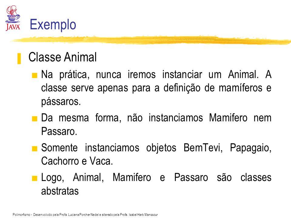 Exemplo Classe Animal. Na prática, nunca iremos instanciar um Animal. A classe serve apenas para a definição de mamíferos e pássaros.