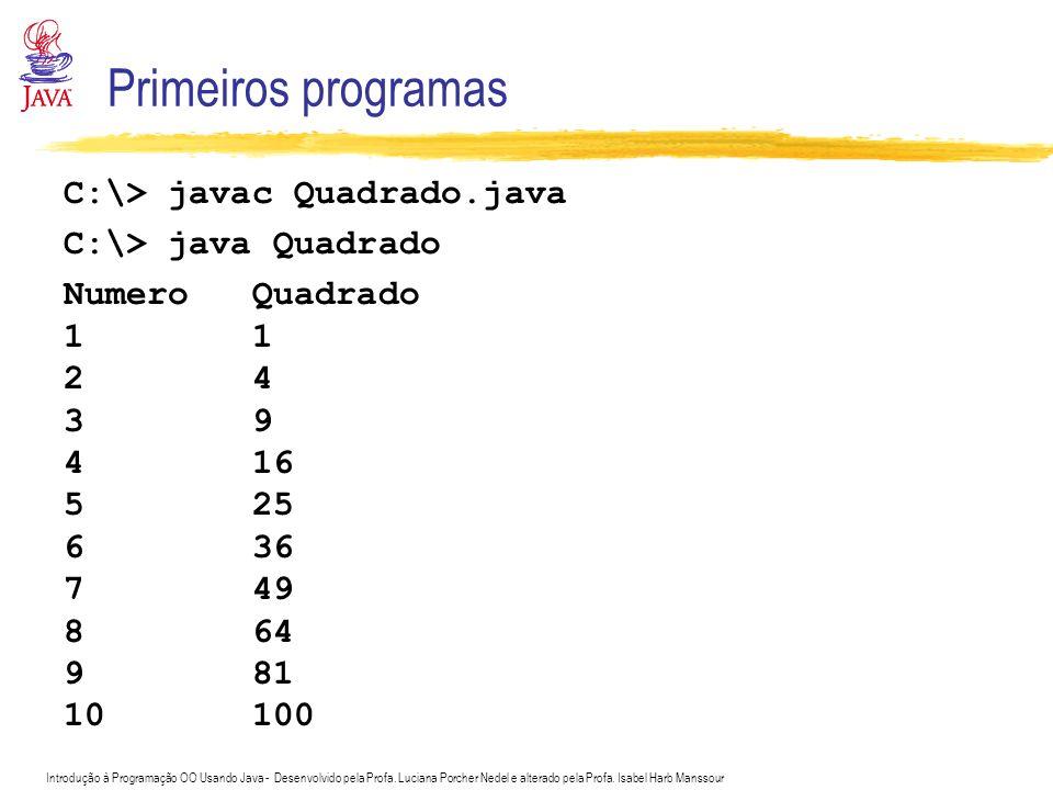 Primeiros programas C:\> javac Quadrado.java C:\> java Quadrado