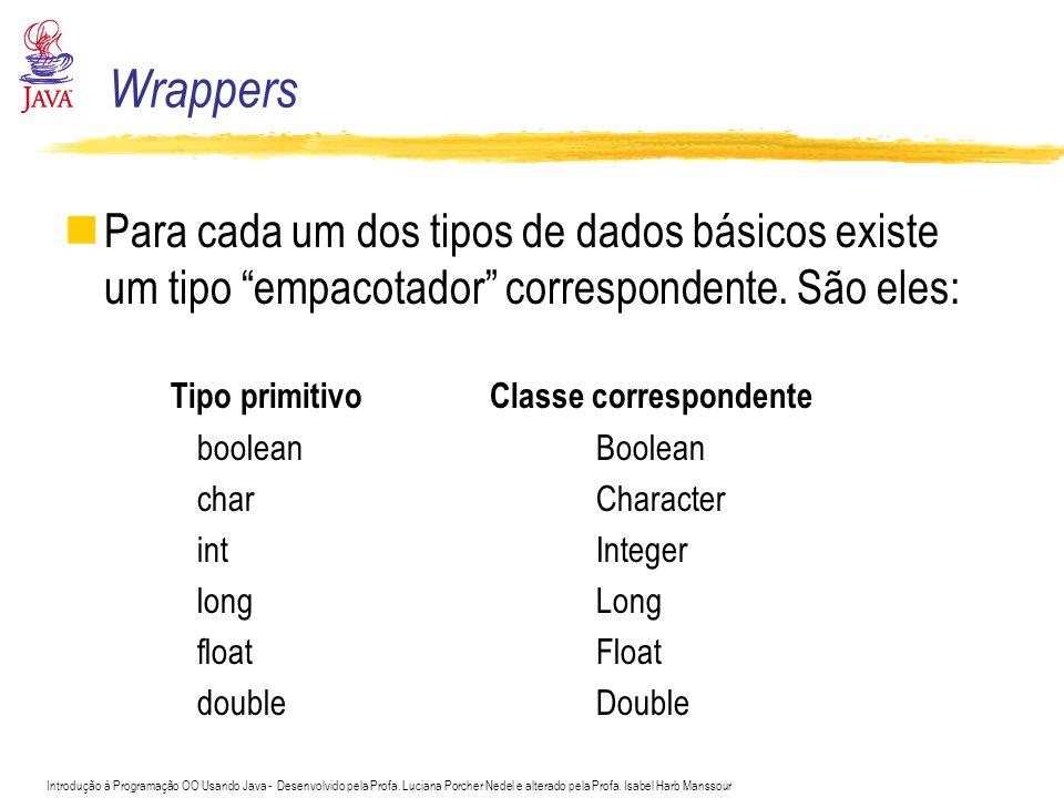 Wrappers Para cada um dos tipos de dados básicos existe um tipo empacotador correspondente. São eles: