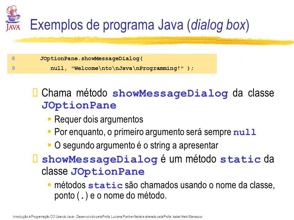 Exemplos de programa Java (dialog box)