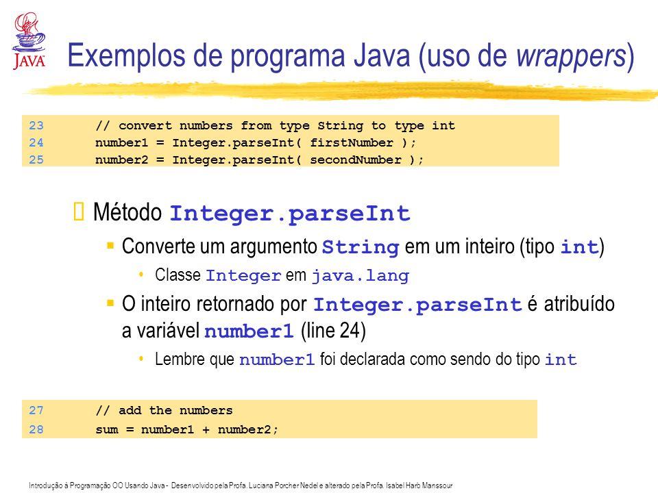 Exemplos de programa Java (uso de wrappers)