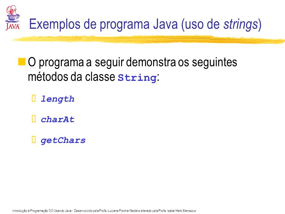 Exemplos de programa Java (uso de strings)