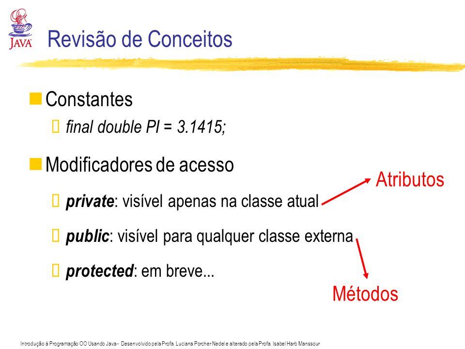 Revisão de Conceitos Constantes Modificadores de acesso Atributos