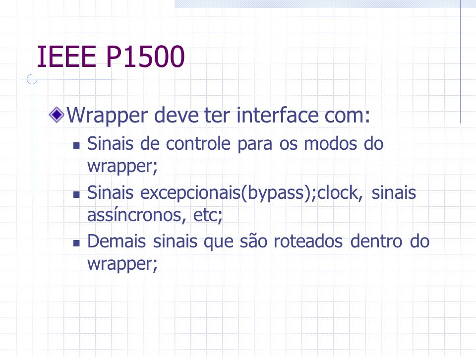IEEE P1500 Wrapper deve ter interface com: