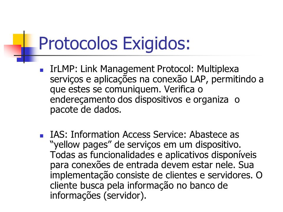 Protocolos Exigidos: