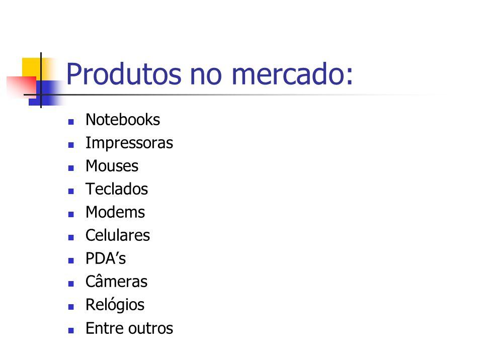 Produtos no mercado: Notebooks Impressoras Mouses Teclados Modems