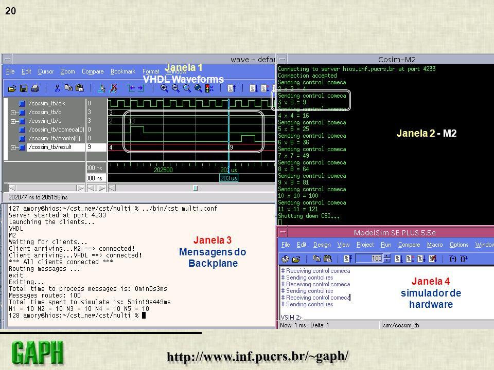 Janela 1 VHDL Waveforms. Janela 2 - M2. Janela 3.