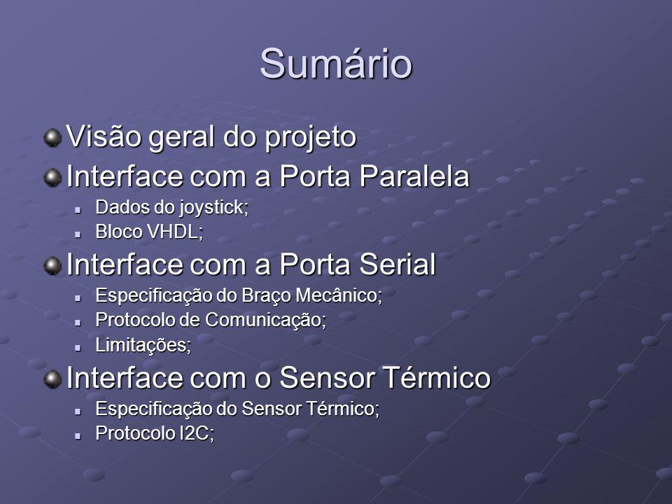 Sumário Visão geral do projeto Interface com a Porta Paralela