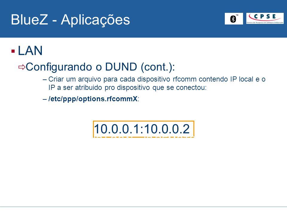 BlueZ - Aplicações LAN 10.0.0.1:10.0.0.2 Configurando o DUND (cont.):