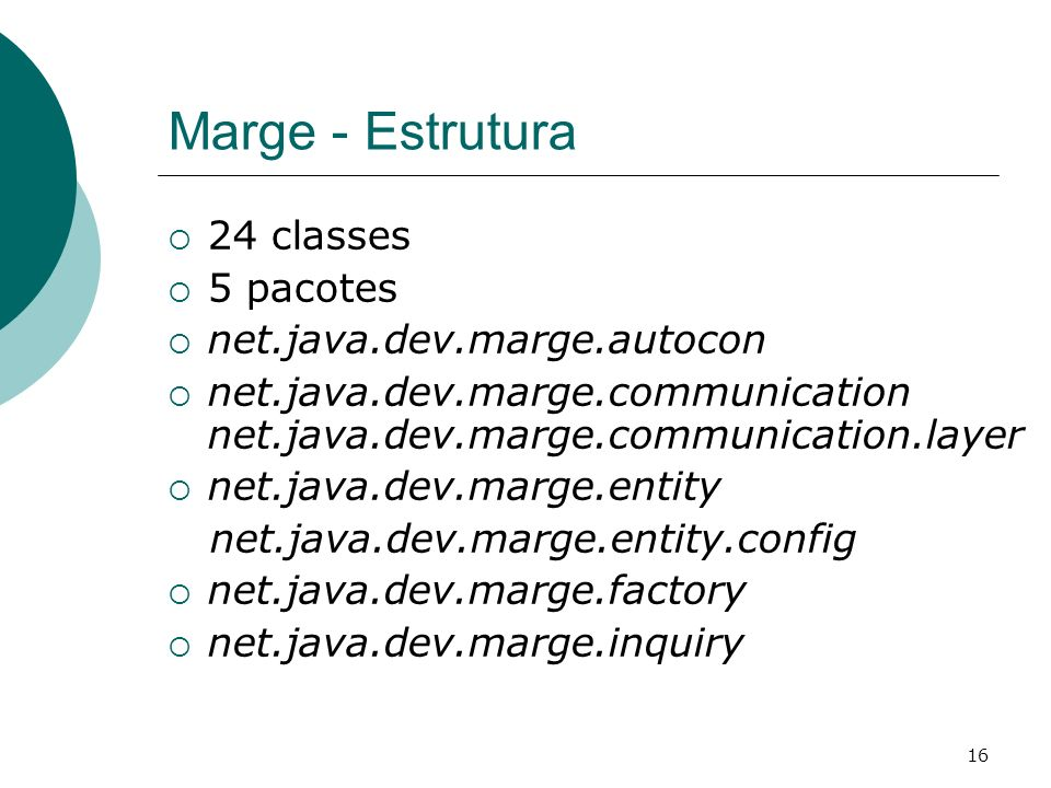Marge - Estrutura 24 classes 5 pacotes net.java.dev.marge.autocon