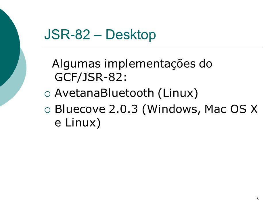JSR-82 – Desktop Algumas implementações do GCF/JSR-82: