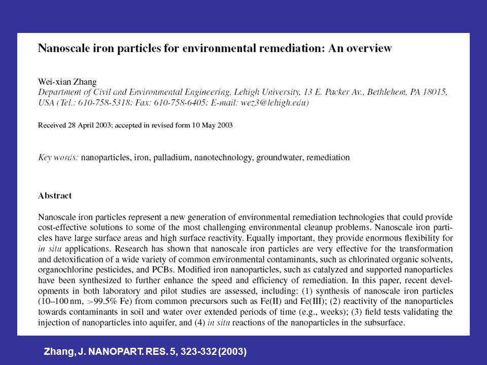 Zhang, J. NANOPART. RES. 5, 323-332 (2003)